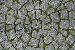 Circular cobblestone texture with grass Royalty Free Stock Images