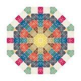 Circular colored ornament, patchwork texture. Mandala Royalty Free Stock Photos