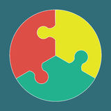 Circular colorful puzzle icon. Vector logo illustration Stock Images