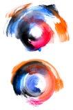 Circular and colorful watercolor shapes. Abstract circular watercolor shapes in many colors royalty free illustration