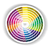 Circular colour swatch. An image showing a circular colour swatch with grading colours for red green and blue, rgb, or cyan magenta yellow and black, CMYK, with royalty free illustration