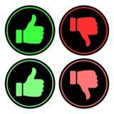 Circular, como/grupo ícone do desagrado Vermelho/verde no preto Isolado no branco ilustração stock