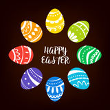 Circular composition with colored Easter eggs. Vector illustration.  royalty free illustration