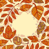 Circular composition of decorative autumn leaves Royalty Free Stock Image