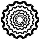 Circular, concentric abstract design element , motiff on white Royalty Free Stock Image