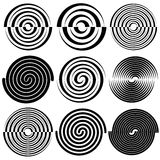 Circular concentric circles, rings.  Spiral, vortex, swirl desig Stock Photography