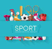 Circular concept of sports equipment sticker Stock Images