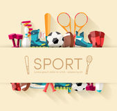 Circular concept of sports equipment sticker Royalty Free Stock Image