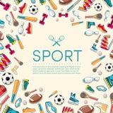 Circular concept of sports equipment sticker Stock Photos