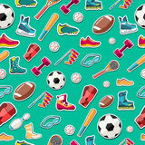 Circular concept of sports equipment sticker Royalty Free Stock Photo