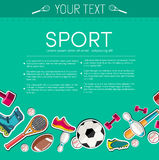 Circular concept of sports equipment sticker Royalty Free Stock Photography