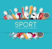 Circular concept of sports equipment sticker Royalty Free Stock Images