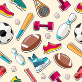 Circular concept of sports equipment sticker Stock Photo
