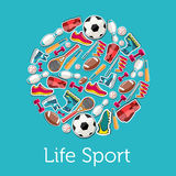 Circular concept of sports equipment sticker Stock Image
