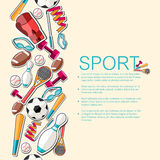 Circular concept of sports equipment sticker Royalty Free Stock Photos