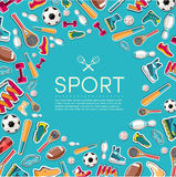 Circular concept of sports equipment sticker Stock Photos