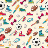 Circular concept of sports equipment sticker Stock Photography