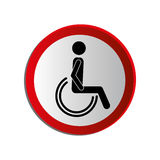Circular contour road sign person sitting wheelchair Stock Images