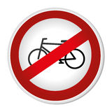 Circular contour road sign prohibited parking area for bicycles Royalty Free Stock Photo