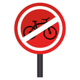 Circular contour road sign prohibited parking area for bicycles Stock Photos
