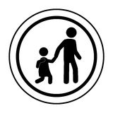 Circular contour road sign for students school Royalty Free Stock Image