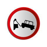 Circular contour road sign with tow truck Stock Image