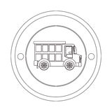 Circular contour of silhouette with dump truck. Vector illustration Stock Photography