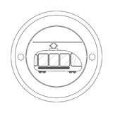 Circular contour of silhouette with trolley car. Vector illustration Stock Photo