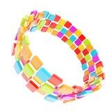 Circular copyspace frame made of cuboids Royalty Free Stock Photos