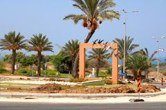 Circular crossroads decorated with swallows in the city of Ashkelon. Israel royalty free stock image