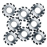 Circular cutter blades over white Royalty Free Stock Photography