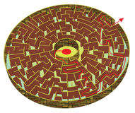Circular 3d labyrinth with wall of brick Royalty Free Stock Image