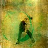 Circular Dancer. Modern dancer with positive green energy circle. Photo based illustation Royalty Free Stock Photography