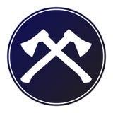 Circular, dark blue gradient crossed hatchet/axe white silhouette icon. Isolated on white Stock Photo