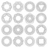 Circular decorative elements for design. Set of celtic knotting rings. 16 circular decorative elements with stripes braiding for your design Royalty Free Stock Image