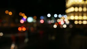 Circular defocused traffic and citylights moving at night from the cars in Istanbul, Turkey stock footage