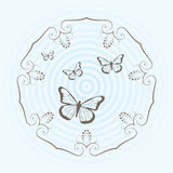 Circular design and butterflies  Royalty Free Stock Photos