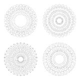 Circular design templates . Round decorative patterns. Set of creative Mandala isolated on white. Stock Photos