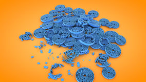 Circular destroyed labyrinth shapes, 3D rendering Stock Images