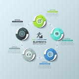 Circular diagram with 5 round elements connected by lines and text boxes, modern infographic design layout. Stock Image