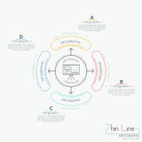 Circular diagram with text boxes and 4 rounded elements. Connected with center by arrows. Steps of business development concept. Infographic design template Stock Photo
