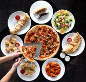 Circular display of Italian restaurant food stock photos