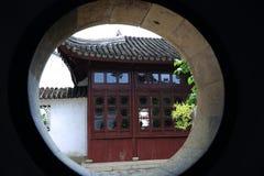 The circular door. In Suzhou Garden royalty free stock image