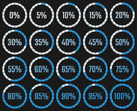 Circular download chart with the percentage of execution in the Royalty Free Stock Photos