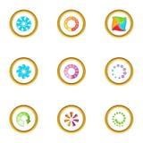 Circular downloading icons set, cartoon style Stock Images