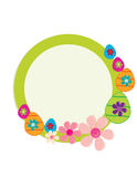 Circular Easter egg frame. Green circular frame with Easter eggs and flowers on a white background vector illustration