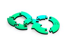 Circular economy concept, 3D illustration. Circular economy concept. Blue green arrow infinity symbol of jigsaw puzzle separated in small pieces, isolated on Stock Photos