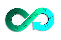 Circular economy concept, 3D illustration. Circular economy concept. Blue green arrow infinity symbol of jigsaw puzzle pieces,  on white background, 3D Royalty Free Stock Images