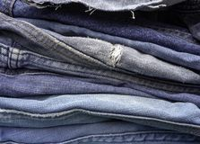 Circular economy, upcycling old jeans stock photography
