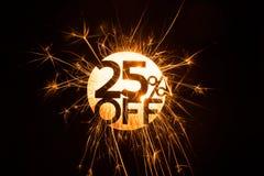 Circular efervescente 25 por cento fora do sinal Foto de Stock Royalty Free
